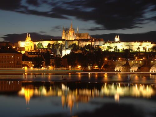 Amazing Prague Castle during a night.  ... something interesting to note - Prague Castle is the biggest castle in the world according to the Guiness book of records.