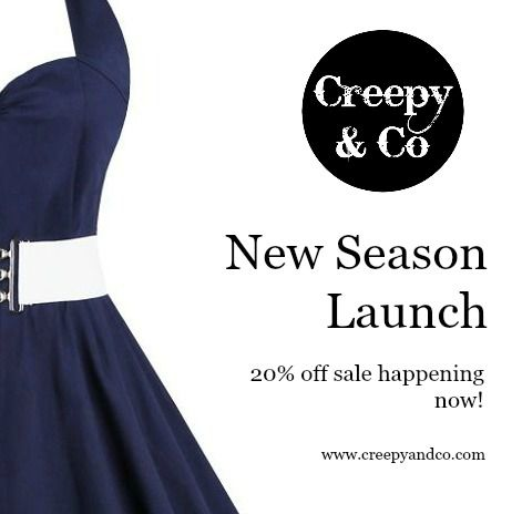 This week at Creepy & Co I have released a new collection of 1950's pinup inspired dresses and to celebrate I am offering a 20% off sale.  If you become a member of my exclusive club you will get an additional 10% off.  Continue reading to see what's new and how you can join the club.