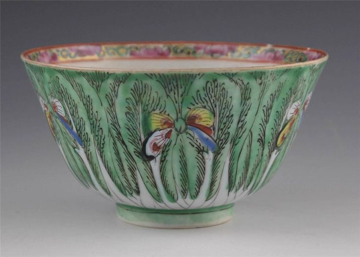 Antique Chinese Qing Dynasty Cabbage Leaf And Butterfly Rice Bowl Asian Antiques Pinterest