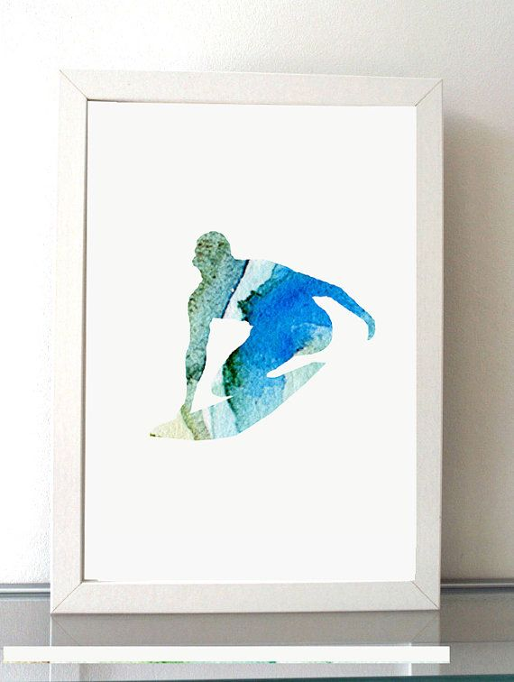 Surf illustratie  giclee print  schilderij door Lemonillustrations