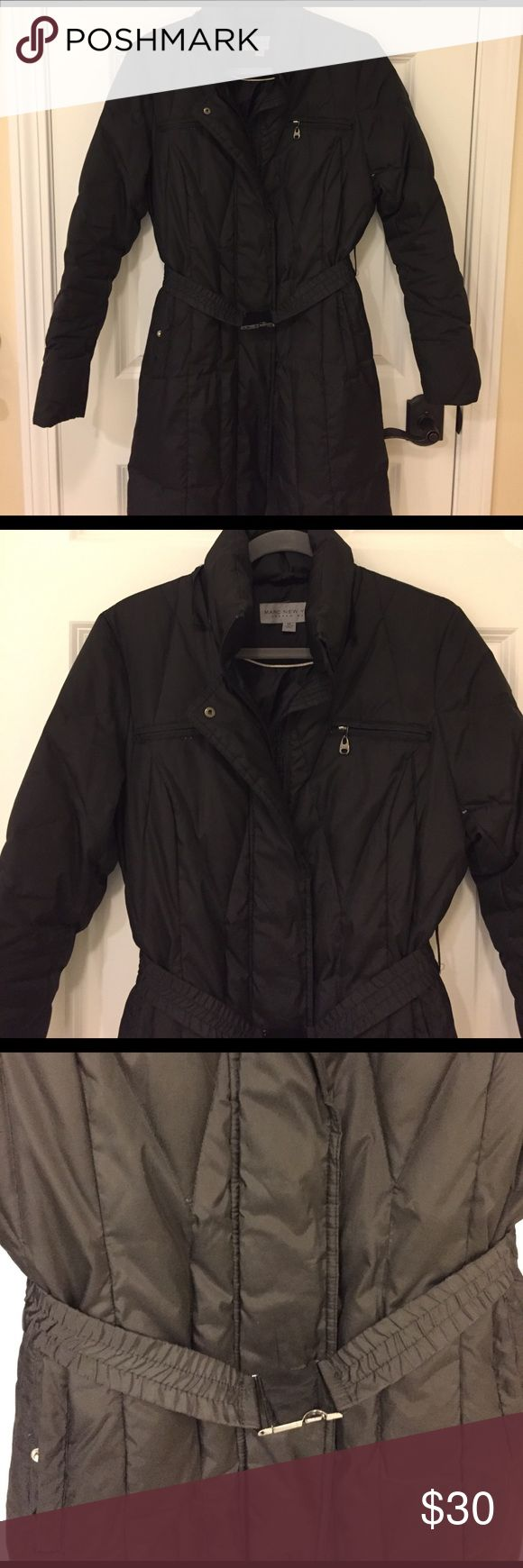 Womens puffer coat Black womens puffer coat.  Zipper and snap closure with elastic belt.  Flattering shape!  Approx 39.5 inches from top of shoulder to bottom of coat.  Hits just above knee.  Zipper needs to be repaired-priced accordingly. Andrew Marc Jackets & Coats Puffers
