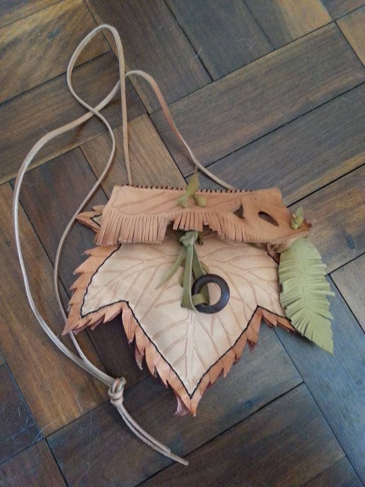 Handtooled, Handpainted Leather Maple Leaf Slingbag with Leather Feather & Corset Trim