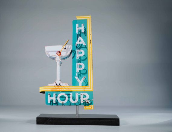 Happy Hour Neon sign cutout / vintage neon sign / by neonmemory