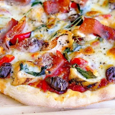 Grilled Chicken and Prosciutto Margherita Pizza  - rock recipes says heat up your pizza stone and start making some exceptional homemade pizza.