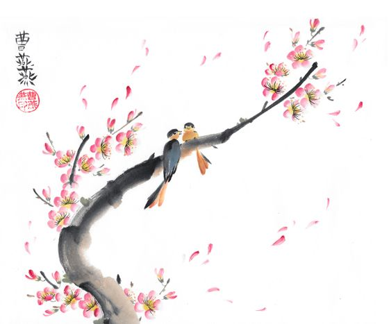 A pair of birds perch at peak of plum blossom season. Plum blossoms are a symbol of Winter and represent strength and overcoming adversity. The stroking of the flower petals are intricate, as each petal formed by two strokes of a small brush, which makes 10 movements of the brush per flower. The accumulation of these tiny strokes result in a delicate, graceful traditional flower composition. Two birds are a symbol of fidelity and good luck. #cherryblossom