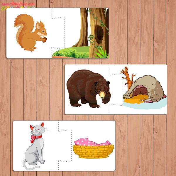 домашние животные их домики в картинках распечатать еще один