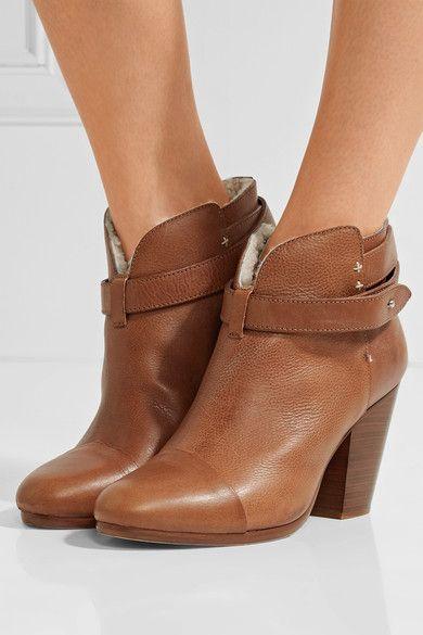 rag & bone | Harrow shearling-lined leather ankle boots | NET-A-PORTER.COM