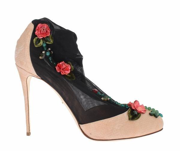 Pink Jacquard Black Roses Socks Shoes Dolce & Gabbana  SIG31438  €278.00 /// Was €710