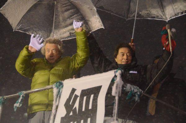 2014年の都知事選で小泉氏は細川元首相を支援した。しかし「イラク戦争支持」がたたり、反原発陣営が割れた。選挙は敗北した。=2014年2月、新宿 撮影:筆者=