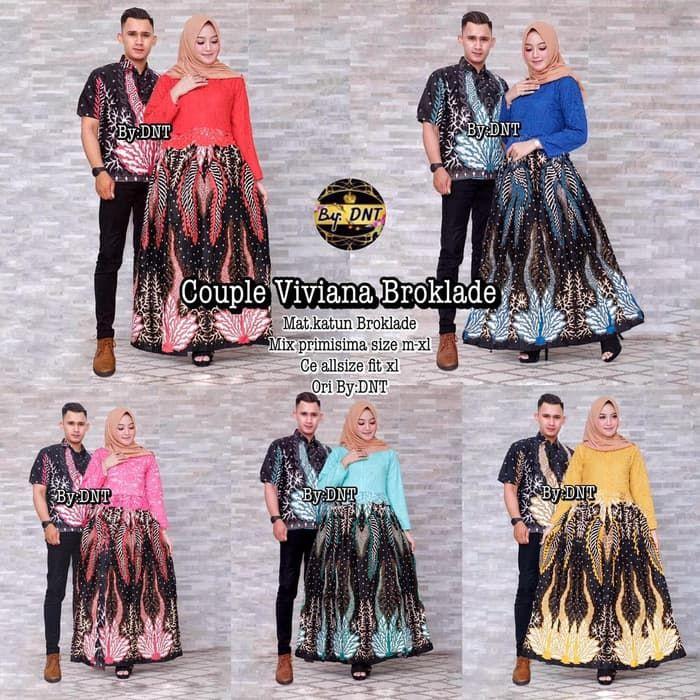 Setelan Modern Baju Batik Sarimbit Gamis Brokat Viviana
