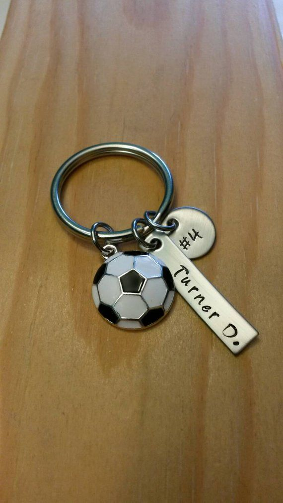 Hand Stamped Personalized Soccer Keychain Soccer Team Gift | Etsy