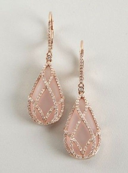 Blush pink pink jewels rose gold wedding earrings.