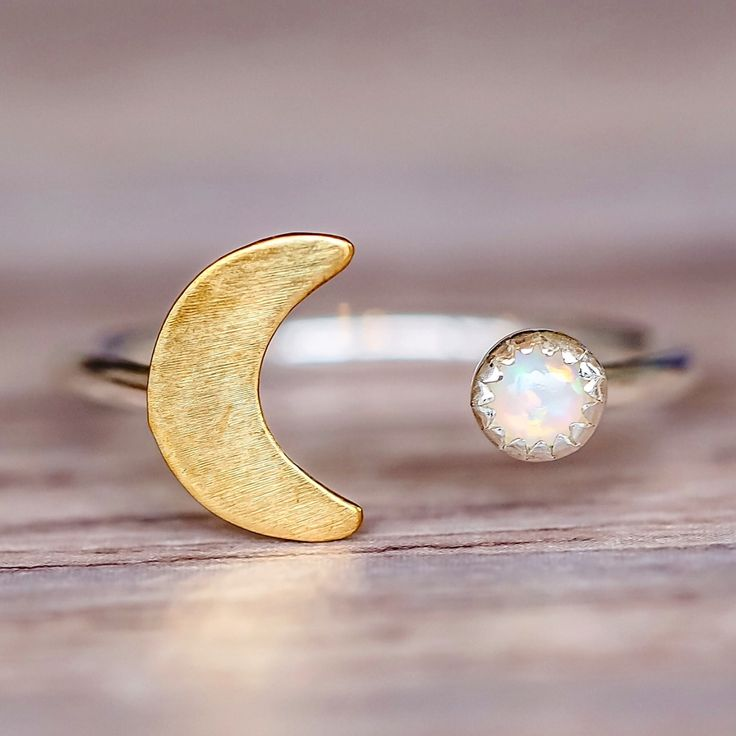 Mermaid Half Moon and Opal Ring | Bohemian Jewelry | Indie and Harper