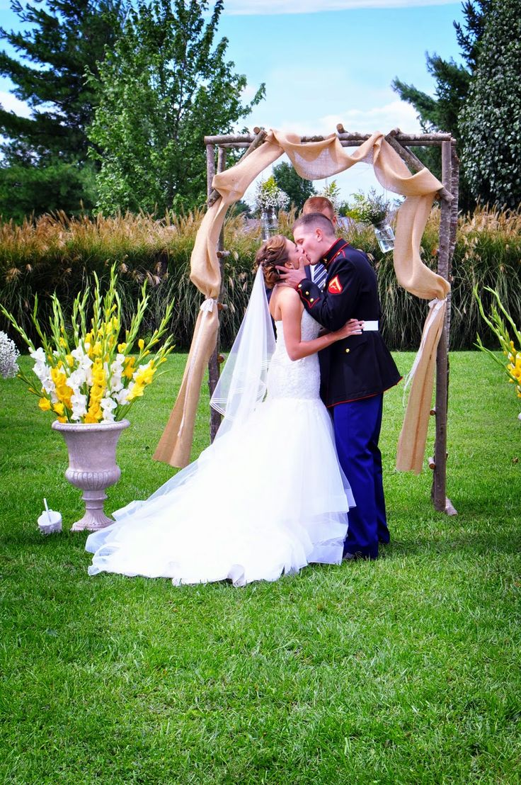 faith in all things: Ceremony & Reception// first kiss, husband and wife, burlap, outside wedding, dress blues, usmc wedding, wedding shots
