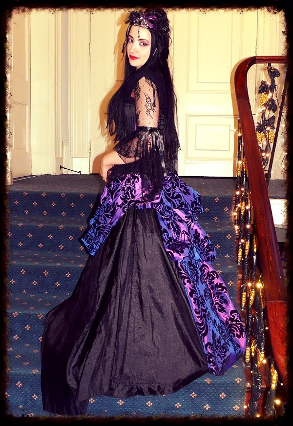 Handmade damask taffeta bustle skirt worn at the Black Rose Ball in York - I try to wear as much of my handmade clothing as I can.  https://www.facebook.com/Superstitchious.Clothing?pnref