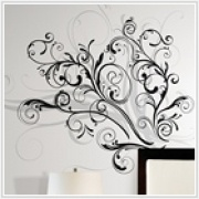 "Forever Twined Giant Appliques    Dimensions :: 2 sheets: 18"" x 40"" - 22 Elements per pack    Dress up those drab walls with this elegant graphic swirl. With its trendy combination of black and metallic silver inks, this design will seamlessly match a wide variety of teen and adult bedrooms. Application is easy: just peel and stick!"