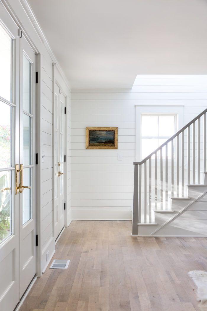 White Shiplap Light Wood Floors Gray Stair Bannister Barrow