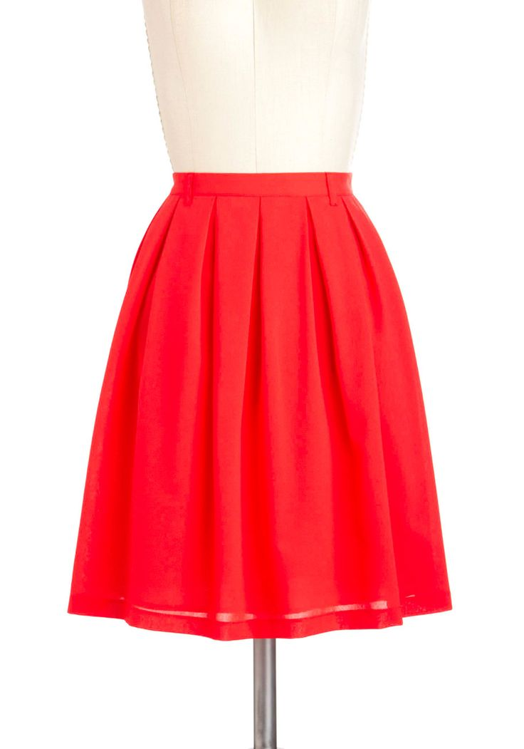 Punch Bowl Perusal Skirt - Mid-length, Red, Solid, A-line, Casual, Beach/Resort