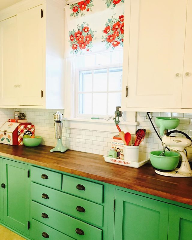 Orange And Green Painted Kitchens