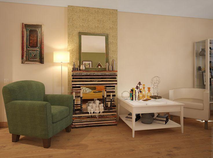 Декоративный камин и удобное кресло. Гостиная. Дизайн трехкомнатной квартиры на Ленинском проспекте в Москве.