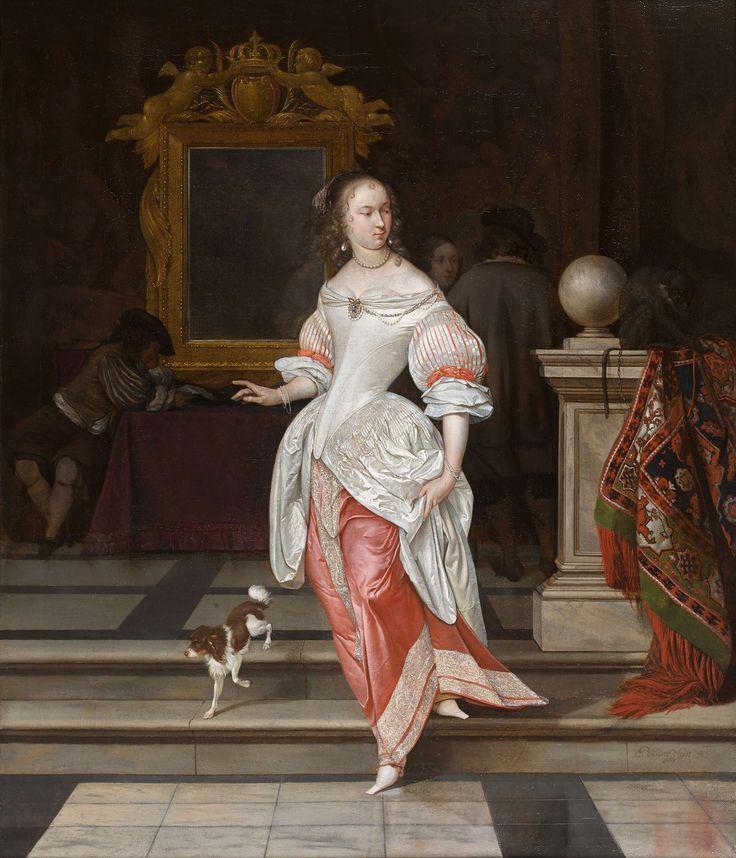 "Eglon van der Neer (Amsterdam 1635/36 - 1703 Düsseldorf) ""La grande dame"". A Lady and Other Figures in an Interior"