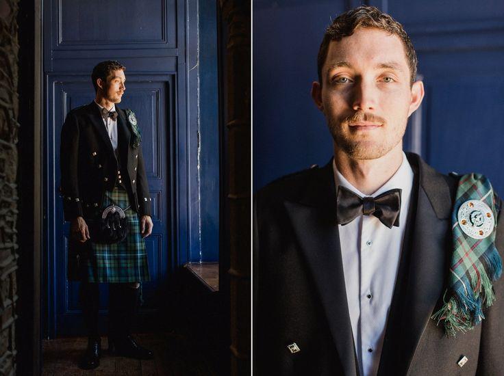 Groom wears a Robertson tartan kilt. Photography by Lifestories Wedding Photography.