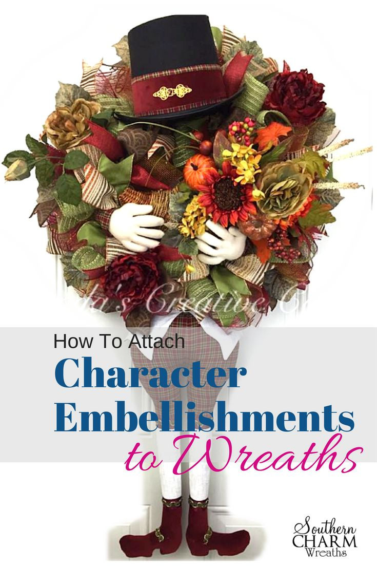 How to attach character embellishments to deco mesh wreaths on the blog at www.southerncharmwreaths.com/blog