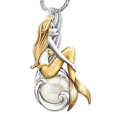 Necklace: Disney Waves Of Wonder Little Mermaid Genuine Cultured Pearl Pendant Necklace – MisfitToys.net