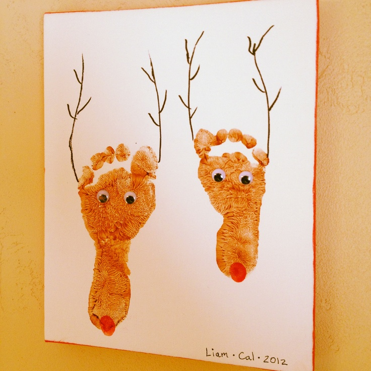 Reindeer Footprints On Canvas Tis The Season