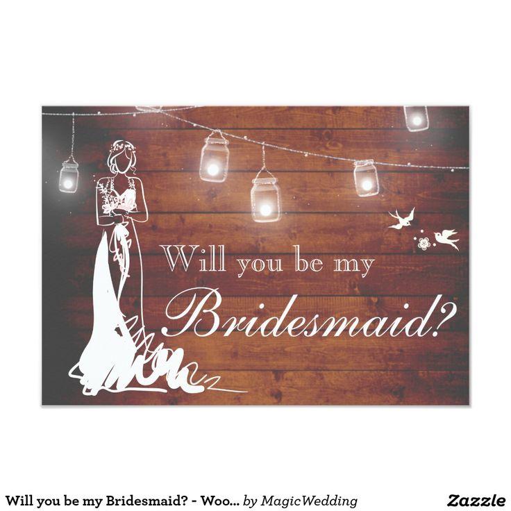 Will you be my Bridesmaid? - Wood, Bride, Masonjar Card
