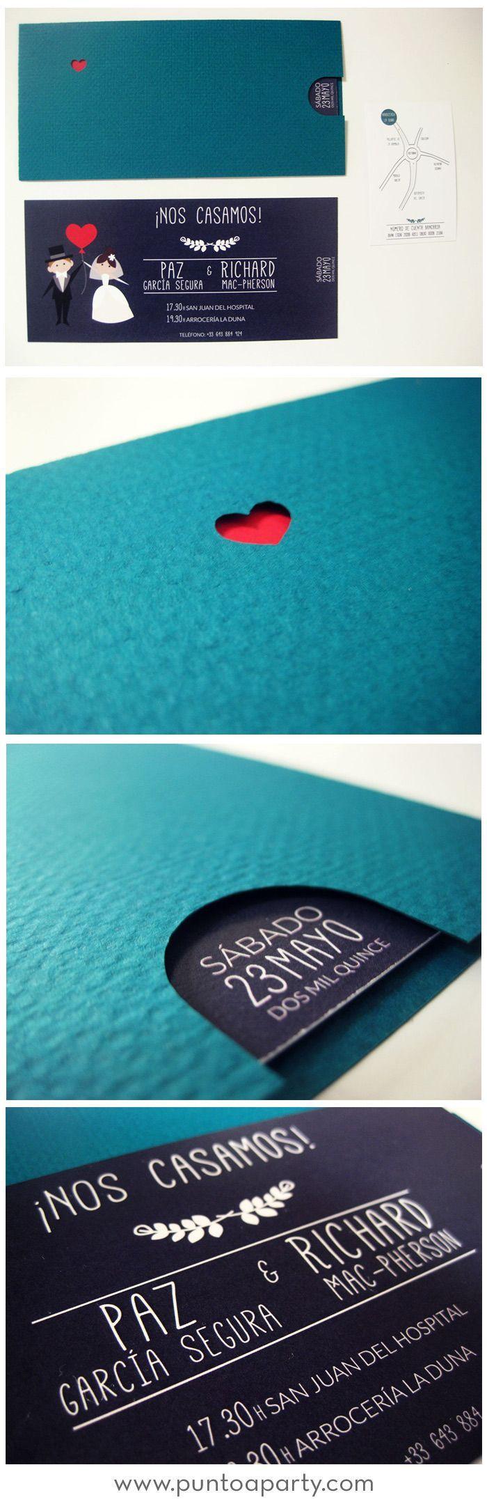 Invitaciones de boda muy modernas con un sobre cortado a láser y montado a mano: