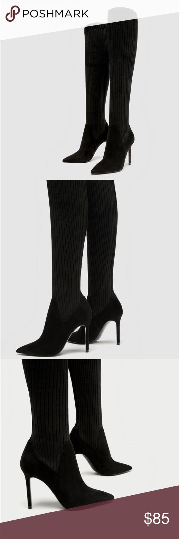 NWT Zara SEXY Sock Style Knee High High Heel Boots Black over-the-knee boots. Featuring ribbed stretch legs, stiletto heels and pointed toes.   Heel height of 10,0 cm. / 3.9″ Zara Shoes Heeled Boots