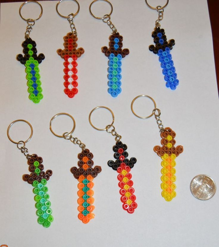Minecraft party favors - Sword keychains - (boy colors) - Set of 8 #Minecraft #BirthdayChild