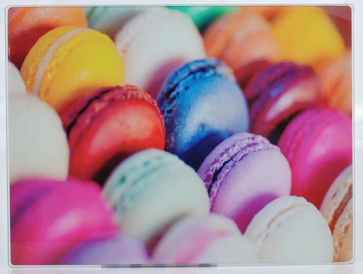 Delicious Macarons Macaroons Design Glass Cutting Chopping Board