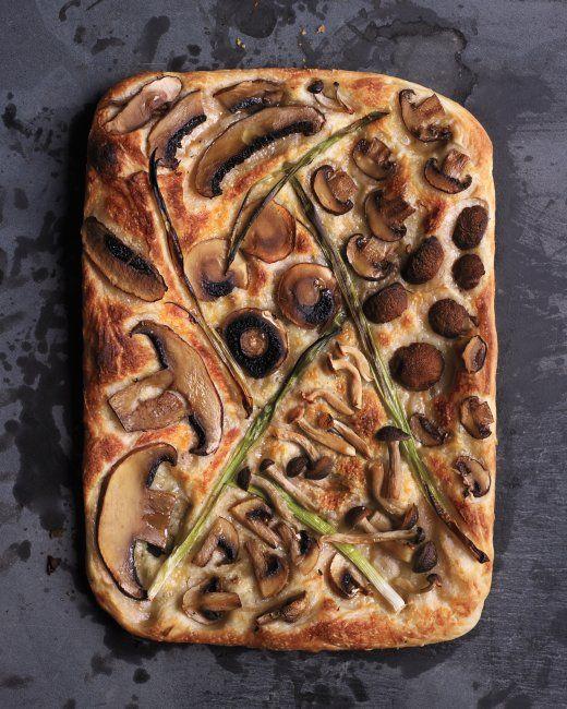 Mixed-Mushroom and Scallion Pizza