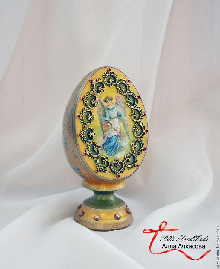 """Купить Яйцо пасхальное большое """"Ангел"""" - золотой, пасхальные яйца, яйца на пасху, пасхальные украшения"""
