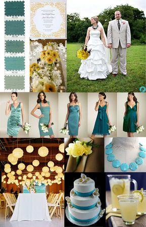 Wedding Color Combination Aqua Teal And Yellow