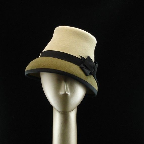 Cloche Hat for Women 1940s Fashion Hat Ivory and Olive Green Fur Felt Hat w Black Ribbon Bows  $265