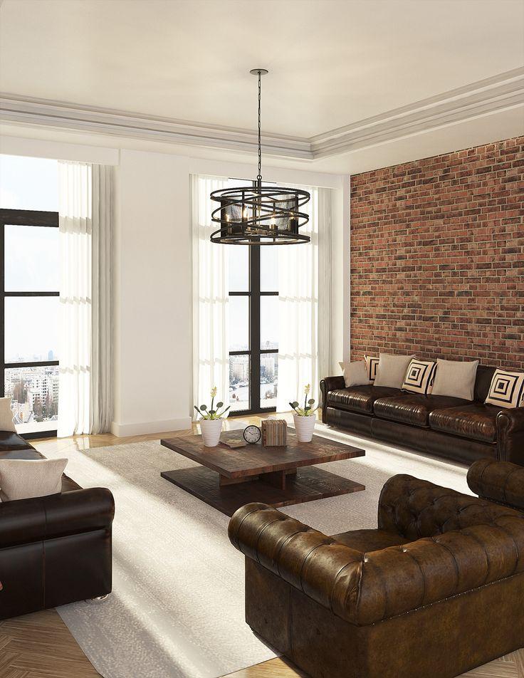 luminaire industriel m tal brut le suspendu au salon. Black Bedroom Furniture Sets. Home Design Ideas