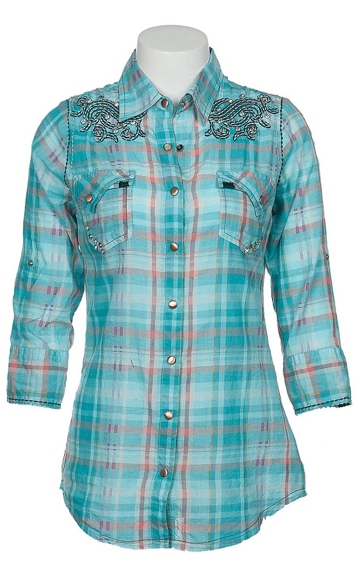 Roar® Ladies Saxon Rose Blue Embroidered Glitter Plaid 3/4 Sleeve Western Shirt $84.00