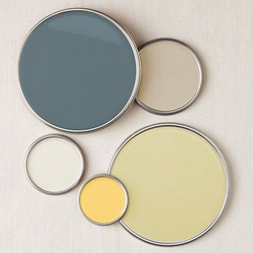 The colour pallet we chose for our room with added coral. Benjamin Moore Hampton Green 2150-50 accent colour BM Cloud White 967 trim BM Charlotte Slate AC-24 curtains BM Bleeker Beige HC-80 walls BM Yellow Rain Coat 2020-40 accent Coral accent small