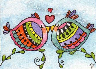 ACEO Print Love Birds whimsical bird art card by JLNilsson on Etsy