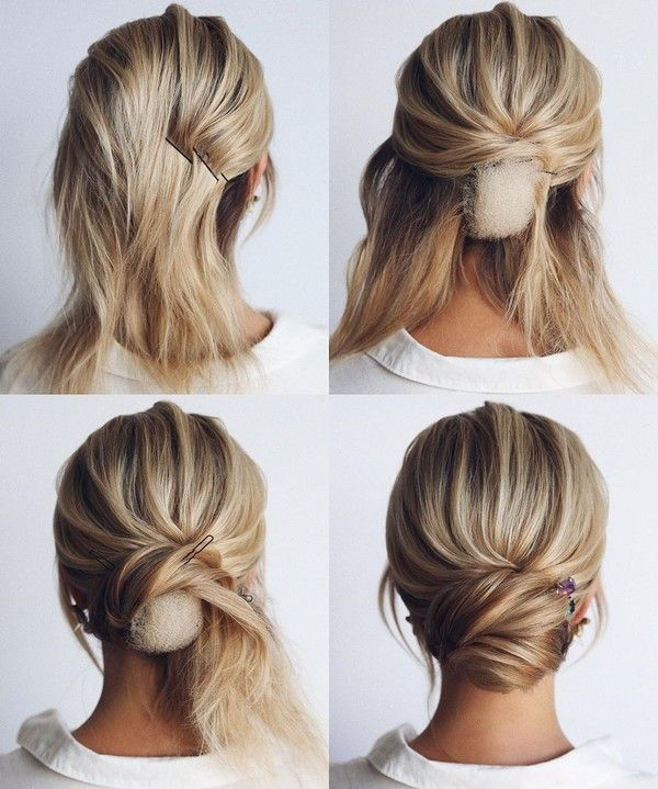 30 Wedding Hairstyle Tutorial For Long Hair Roses Rings Part 3 In 2020 Short Hair Updo Bridal Hair Updo Short Hair Styles