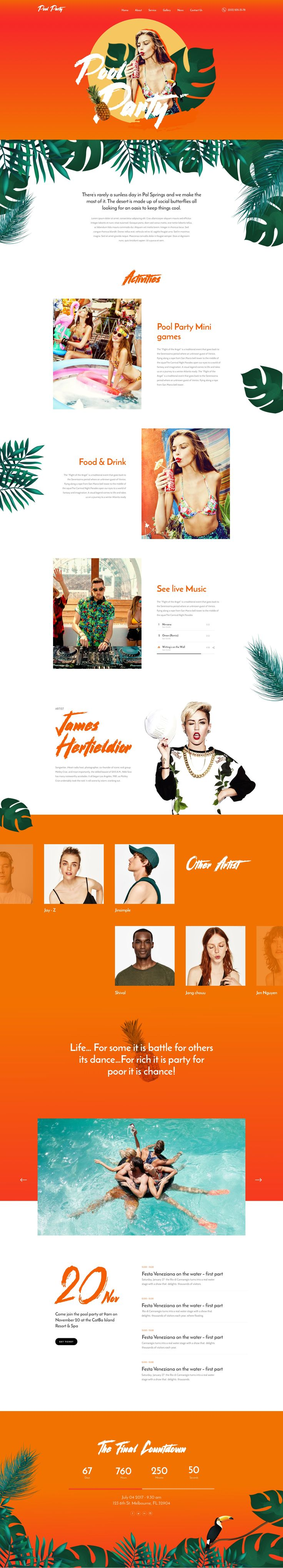 Pool Party – Landing Page For Pool Event