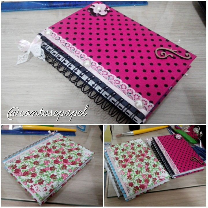 Cadernos forrados com tecido!