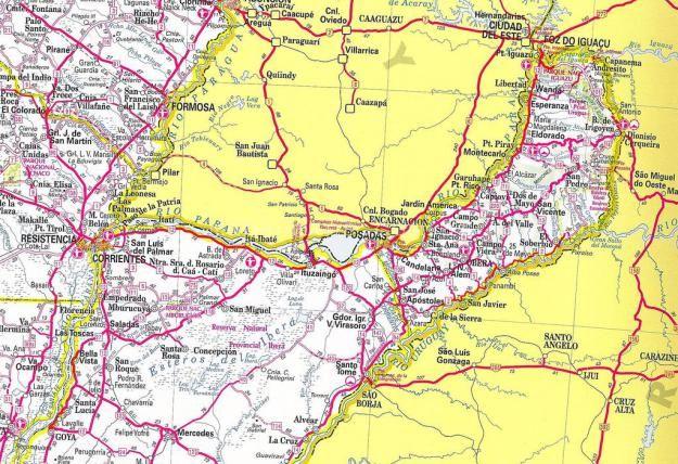 Mapa rutero de la provincia de Misiones