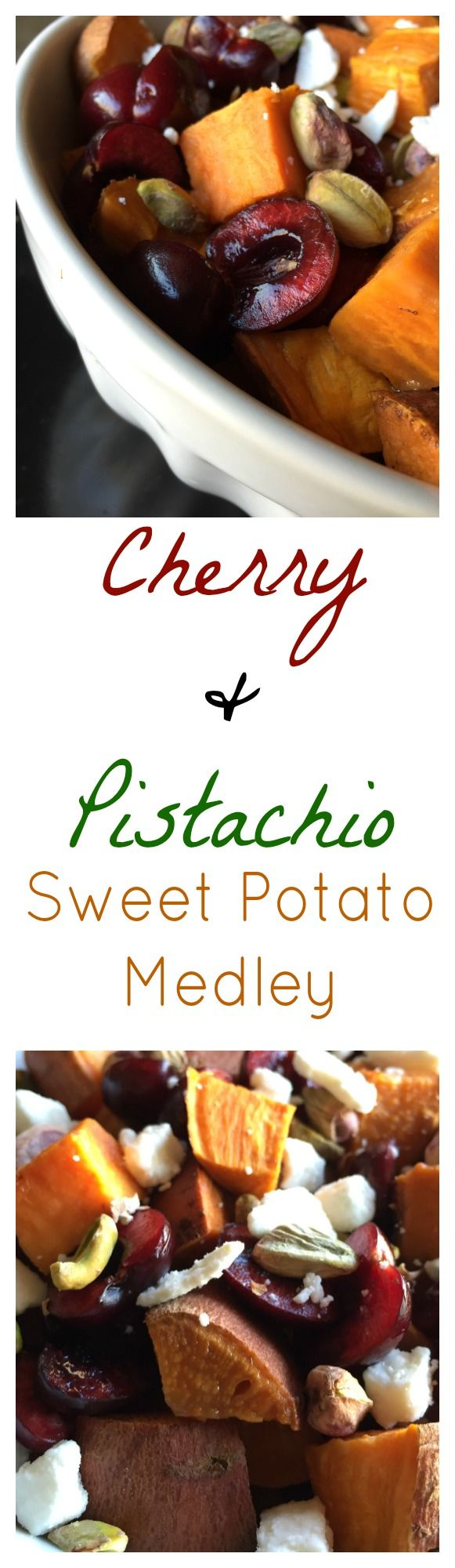Cherry & Pistachio Sweet Potato | Only 130 Calories | Sweet, Crunchy & Savory |Dark, juicy cherries, crunchy pistachios paired with sweet potato & feta cheese |For Nutrition & Fitness Tips & MORE RECIPES, PLEASE SIGN UP for our FREE NEWSLETTER www.NutritionTwins.com