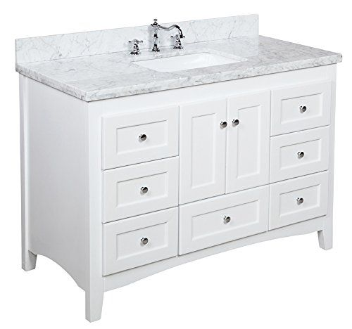 Abbey 48 inch bathroom vanity carrara white includes for Bathroom 48 inch vanity