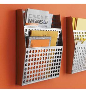 Keep your office organized with the Metal Wall File Organizer with two pockets to hold mail files magazines and more