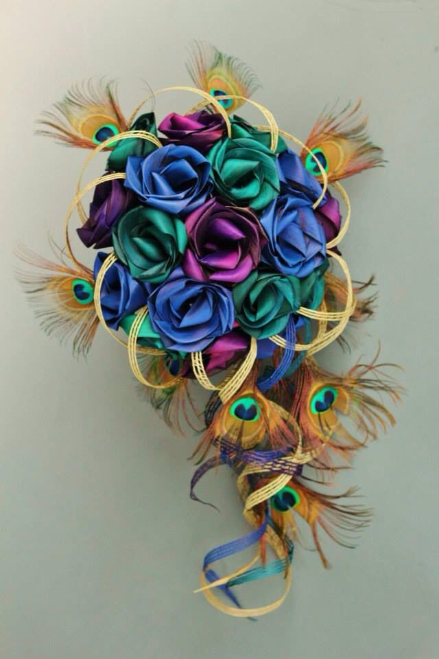 X-Large Peacock posy by Flaxation in sapphire blue, purple and turquoise. www.flaxation.co.nz